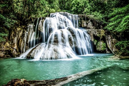 Waterfalls, emerald green water