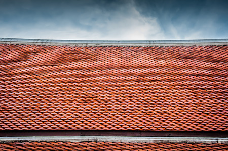 The roof tiles of the temple On overcast days.