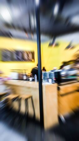 The trade fair, booth selling cheap goods from the manufacturer. A game show and giveaways. Abstract blur