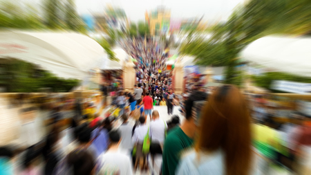 The temples fair is held on special days, there are many shops, day and night. Abstract image blur Stock Photo