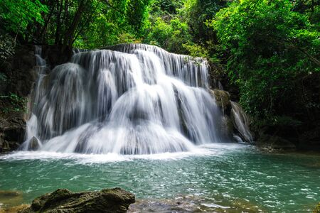 Huay Mae Khamin Waterfall six Level , Paradise waterfall in Tropical rain forest of Thailand