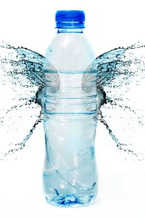 water wings: bottle of water with water wings