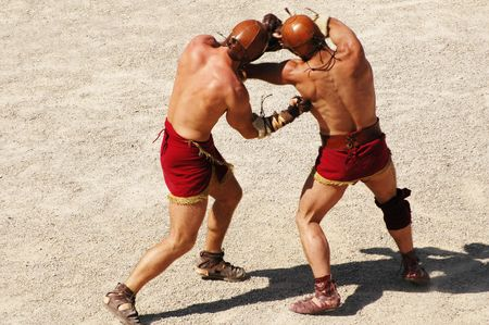 wrestlers: gladiators Stock Photo