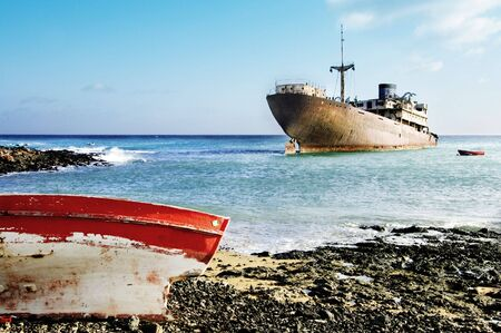 peacefull: two ships in the shipyards, Lanzarote in the Canary Islands Stock Photo