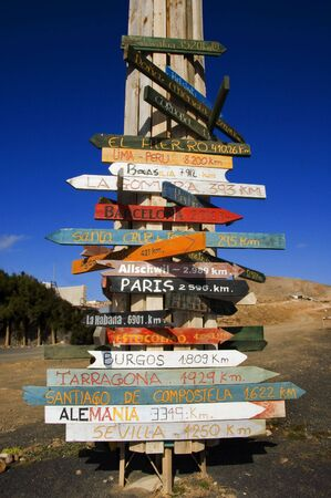 addresses: wooden signs in different parts of the world