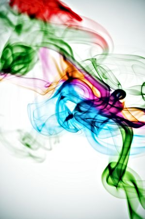 colored smoke isolated  on a white background photo