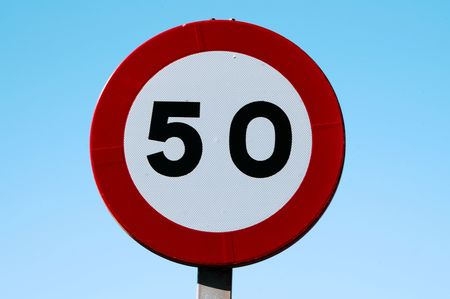 sky is the limit: speed limit signs to 50 on blue sky