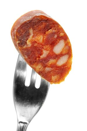 belly pepper: red spanish chorizo on a white background Stock Photo