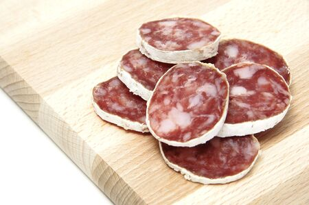 red spanish salami on a white background Stock Photo - 6035311
