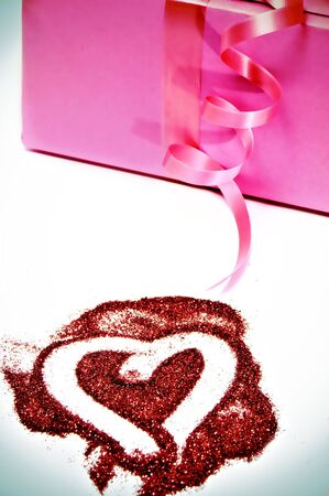 heart and gift on a white background  photo