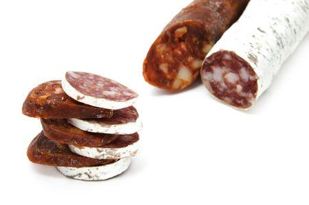 spanish chorizo and salami  on a white background Stock Photo - 6061989