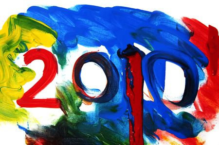 hogmanay: 2010 painted on a background of many colors