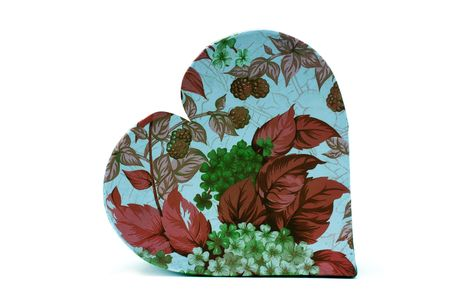 a  flowers heart box on white background photo