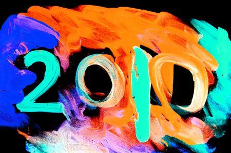 2010 pintado sobre un fondo de muchos colores  Foto de archivo - 6139592