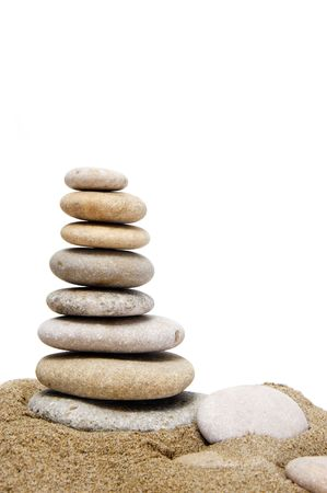 a zen stones on a white background Stock Photo - 6148645