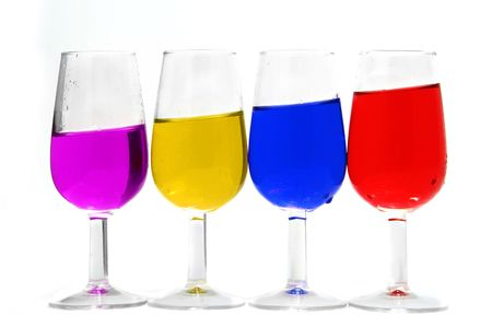 andy: glass of different colors on a white background