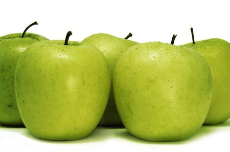 five green apples on a white background Stock Photo - 6219100