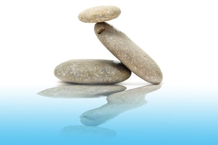 a zen stones on a white background Stock Photo - 6258359