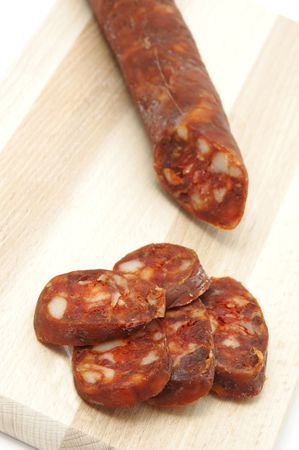 red spanish chorizo on a white background Stock Photo - 6266178