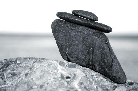 thalasso: a zen stones background white and black  Stock Photo