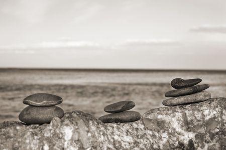 a zen stones background white and black  Stock Photo - 6285117