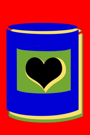 warhol: Valentine pop illustration of a can with a heart