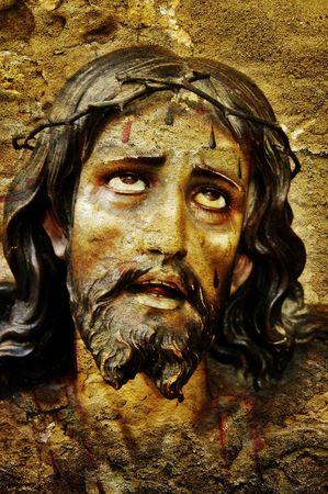 figure of Jesus Christ on vintage background photo