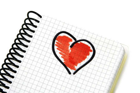 st  valentines: heart drawn in a notebook on a white background