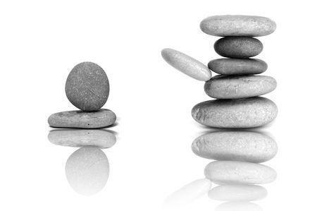 karesansui: a zen stones background white and black  Stock Photo