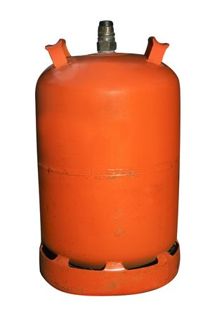 gas cylinder: un cilindro de gas butano espa�ol aislado en un fondo blanco Foto de archivo