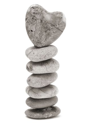 a zen stones with heart on a white background Stock Photo - 6377194