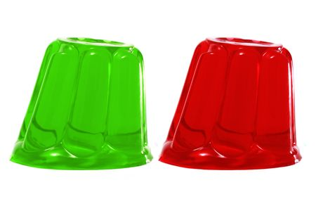 gelatine:  red and green gelatin on a white background Stock Photo