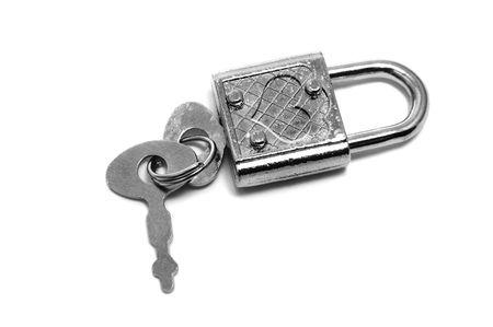 heart-shaped padlock with its key photo