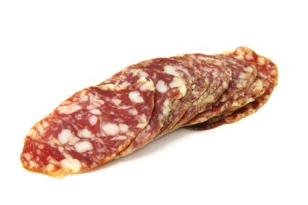 slices of red spanish salami on a white background Stock Photo - 6450120