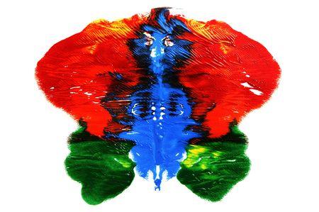 n�vrose: Rorschach inkblot de couleurs diff�rentes sur un fond blanc