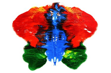 interpretation: Rorschach inkblot of different colors on a white background Stock Photo
