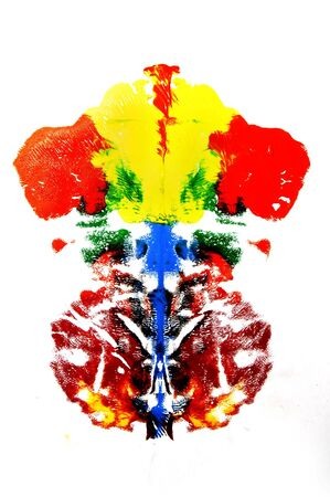 inkblot: Rorschach inkblot of different colors on a white background Stock Photo