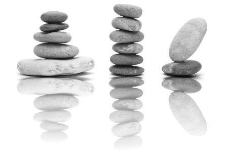 zen steine: ein Zen stones, Background-wei� und schwarz  Lizenzfreie Bilder