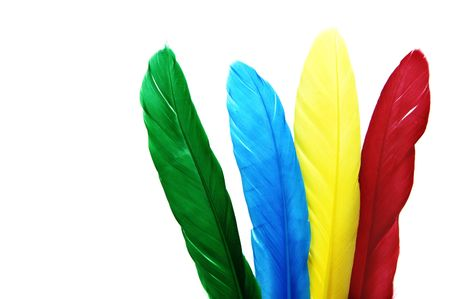 royalty: some colored feathers isolated on a white background Stock Photo