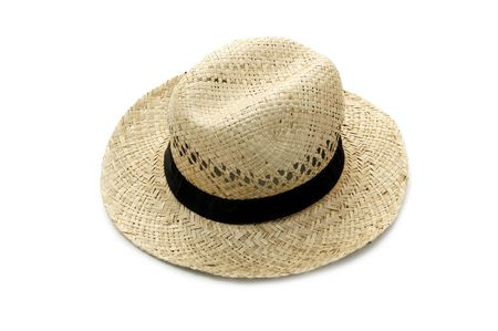 handsom: an straw hat isolated on a white background Stock Photo