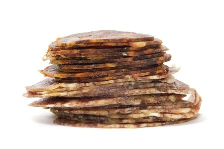 spanish chorizo and salami  on a white background Stock Photo - 6507046