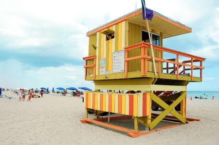 colorfull lifeguard tower in miami beach, florida photo