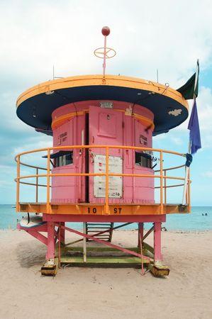 lifeguard tower: colorfull lifeguard tower in miami beach, florida