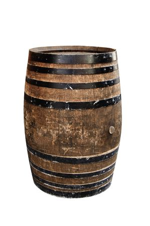 wine industry: isolated wood barrel on a white background