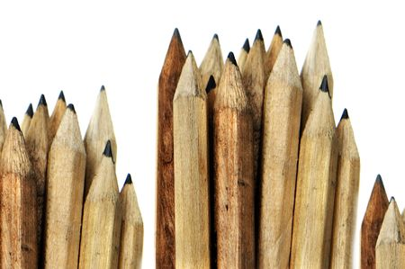 some wooden pencils isolated on a white background photo