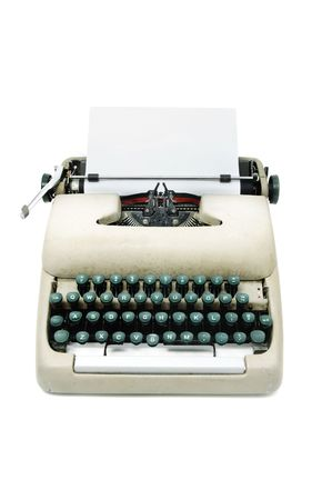 typewriter machine: an ancient typewriter isolated on a white background Stock Photo