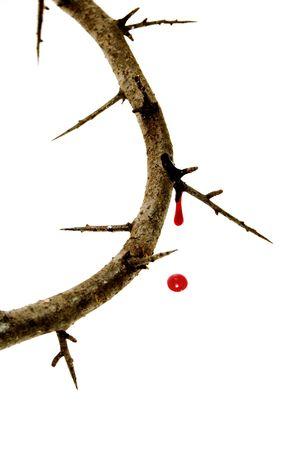 doornenkroon: close-up van een vertegenwoordiging van de Jezus-kroon van doornen met bloed