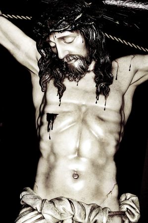 christianity: image of jesus christ in the holy cross Stock Photo