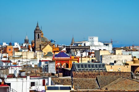 old quarter: view over the roofs of the old quarter of Seville