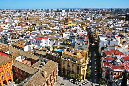 historic place: aerial view of old quarter of Sevilla, Seville, Spain
